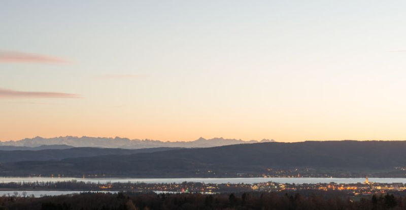 Landschaft Radolfzell Winter Sonnenuntergang