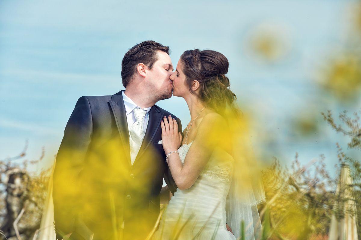 Brautpaar an deren Hochzeit in Radolfzell beim Fotoshooting an der Promenade im Sommer