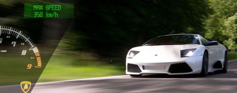 Foto von einem Lamborghini während der Fahrt fotografiert von einem Fotograf bei einem privaten Fotoshooting.