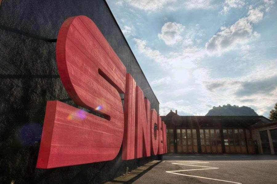 """Wort ,,Singen"""" als rote Buchstaben vor der Kulisse des Hohentwiels aufgenommen und gesehen von Fotograf Rainer Rössler"""